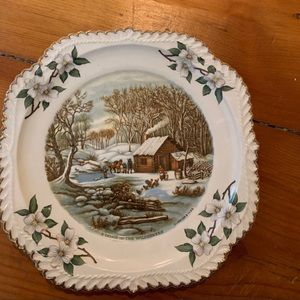 Rustic Log Cabin Display Plate - Vintage Plate